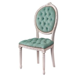 Mahogany French Louis Style Ivory Tufted Upholstered Dining Side Chair