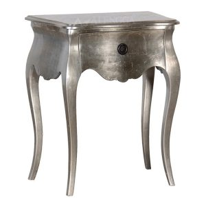 Mahogany French Style Antique Silver Plain One Drawer Bedside Table