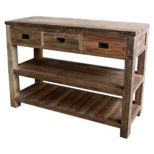 Reclaimed Teak Wood Modern Style Natural Three Drawers Console Table