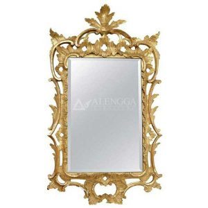 Mahogany Rococo Style Gold Leaf Hand Carved Rectangular Wall Mirror
