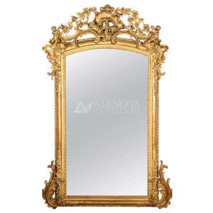 Mahogany Rococo Style Antique Gold Hand Carved Rectangle Wall Mirror