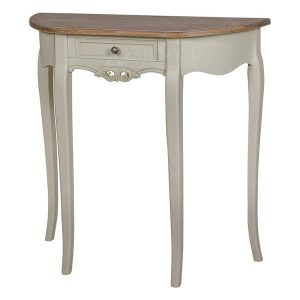 Mahogany French Style Ivory One Drawer Half Moon Hall Console Table