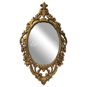 Mahogany French Style Gold Leaf Hand Carved Oval Wall Mirror